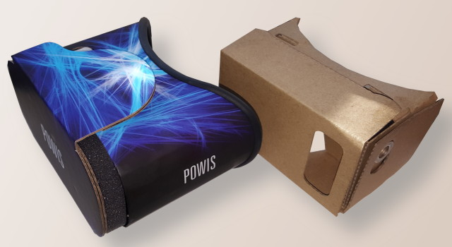 Powis headset, on left, and Google Cardboard v1 headset, on right.
