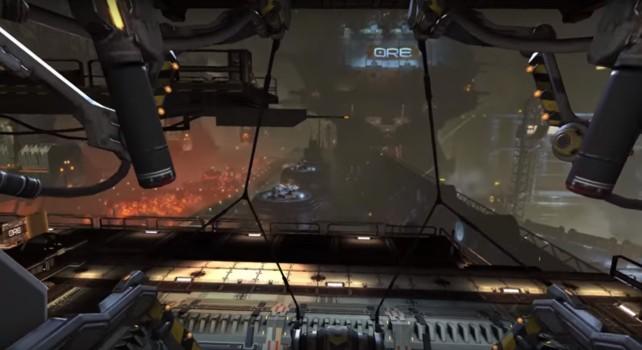 Inside the Eve: Gunjack mining station.