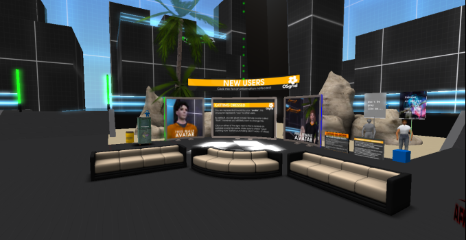 OSgrid's LBSA Plaza is the cross-roads of the hypergrid and a popular virtual hangout for developers, region owners, and metaverse travelers.
