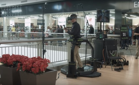 The Virtuix Omni at the mall. (Image courtesy Virtuix.)
