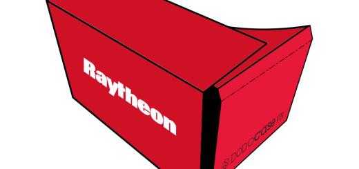 A custom Raytheon Google Cardboard viewer, from DodoCase. (Image courtesy Raytheon.)