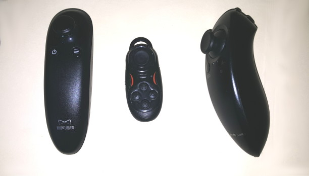 My three controllers. From Left: the Baofeng Mojing 3 controller, Freefly's Glide controller, and the Ling VR controller.