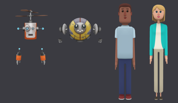 AltspaceVR recently released a set of new avatars, including two human figures. (Image courtesy AltspaceVR.)
