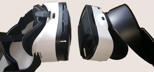 The older Baofeng Mojing 3 is on the left, with the standard fabric-and-Velcro straps. The newer Baofeng Mojing 4 is on the right with that one circular plastic piece to hold it to your head.