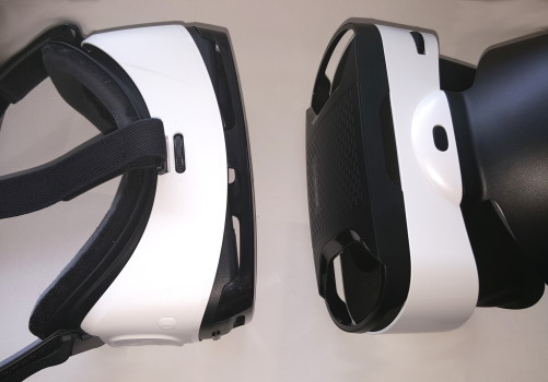 Gear VR, on left, and the Baofeng Mojing 4, on right.