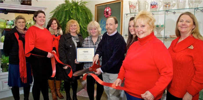 Chamber of Commerce ribbon-cutting ceremony. (Image courtesy Crystal Delights.)