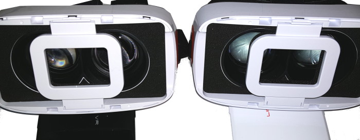 The latch on the Ling VR 1S, on the right, sticks less and is easier to open.