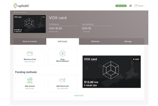 Voxel screen on the Uphold payments platform. (Image courtesy Voxelus.)