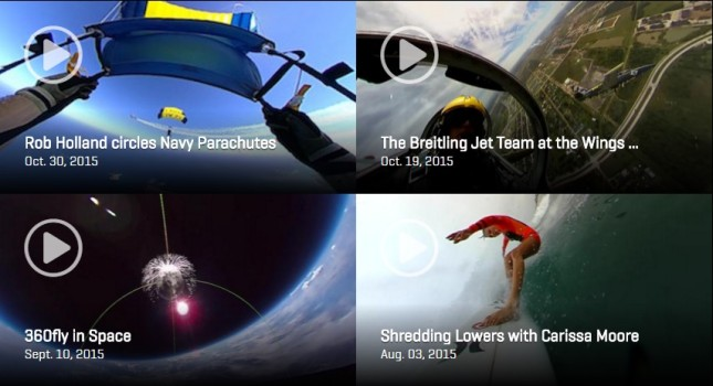 Some of the videos on the 360fly site. The camera's been used to film sharks, and has been to outer space.