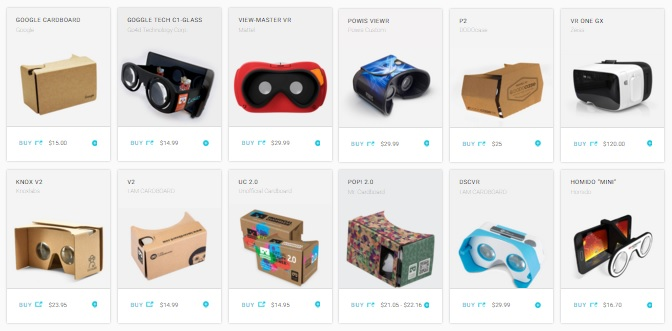 Headsets offered on Google Cardboard official site.