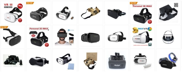 Just a few of the virtual reality headsets available on Amazon, and compatible with Google Cardboard.