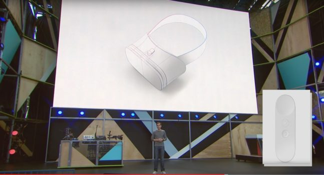 Google VR VP Clay Bavor presents Daydream headset reference design and controller (inset) at Google I/O 2016.