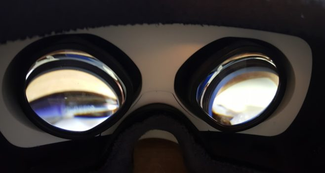 The lenses on the DeePoon V3 are not round. Instead, they narrow in towards the center.