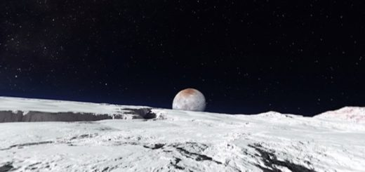 Pluto and its moon. (Image courtesy New York Times.)