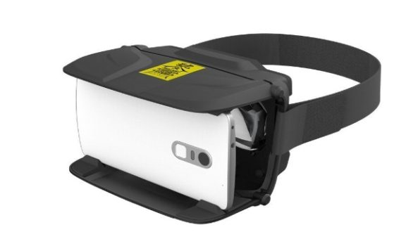 An AntVR headset with a smartphone.