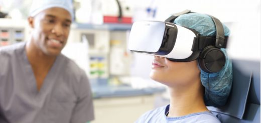 Patients wear a GearVR headset fitted with a hygienic liner. (Image courtesy AppliedVR.)