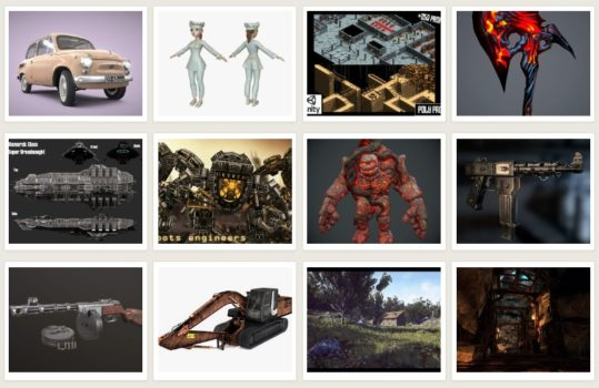 Some of the low-poly 3D models available on CGTrader.com.