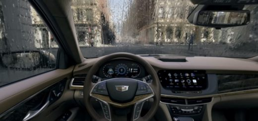 An interior view of Cadillac's 2016 CT6 sedan, as seen in a 360-degree video.