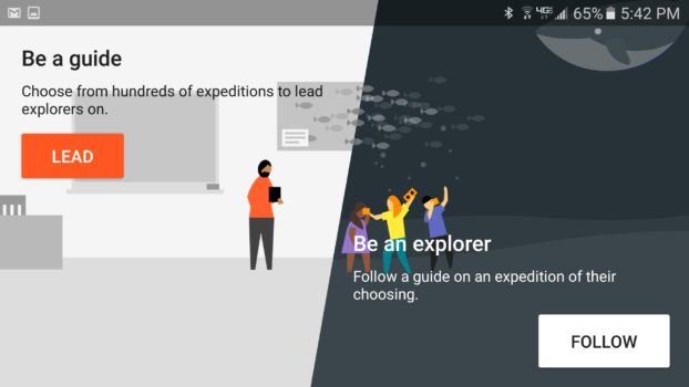 The Expedition app allows users to be the teacher -- the leader -- or a student -- the follower.