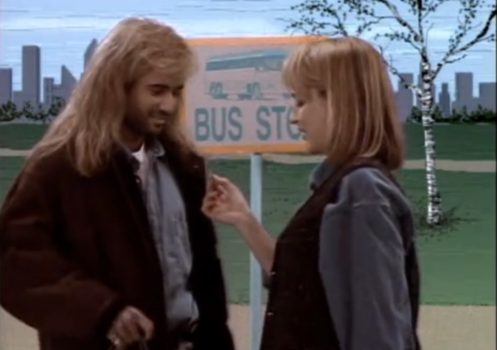Helen Hunt dips her hand into Andre Agassi's pocket and pulls out a bus token.