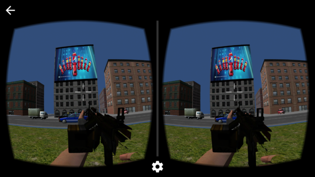 An in-game video ad inside a virtual reality experience. (Image courtesy VadR Networks.)
