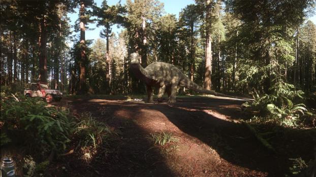 Still from Jurassic World: Apatosaurus. (Image courtesy Felix & Paul Studio.)