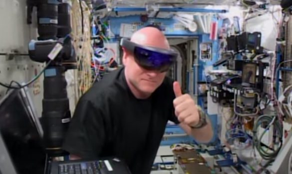 A crew member aboard the International Space Station uses Microsoft's HoloLens . (Image courtesy NASA.)