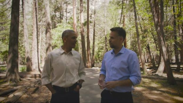 "President Barack Obama calls the national parks ""America's best idea"" as he walks through Yosemite National Park with the National Geographic Channel's Explorer host Richard Bacon. (Image courtesy National Georgraphic.)"