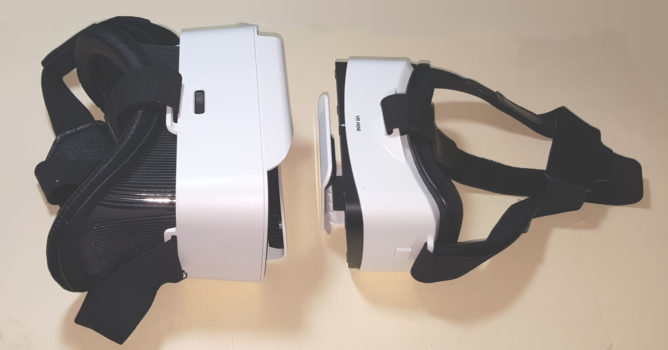 The Shinecon Mini is on the left, the Leji VR Mini is on the right.