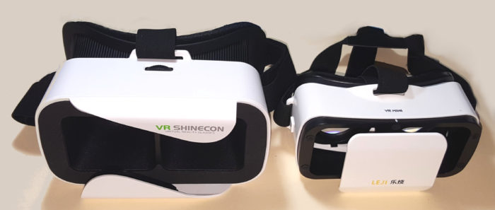 The Shinecon Mini is on the left and the Leji Mini VR is on the right.