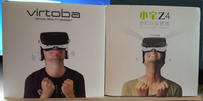 The Virtoba X5 box is on the left, BoboVR Z4 is on the right.