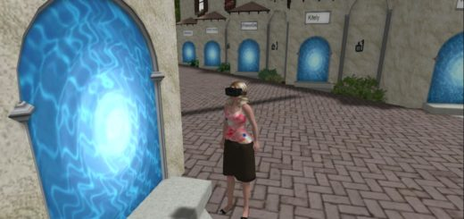 Here I am, about to travel the hypergrid while wearing my VR headset. Or, more like, here I am about to trip...
