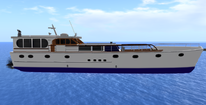 The 1966 Stephens Motor Yacht will be a promotion give-away at the Digitaleisure grid's grand opening party. (Image courtesy Josh Boam.)