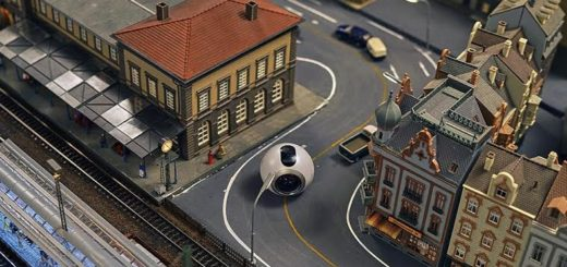 A 360-degree camera being used to record video from right inside a model train set. (Image courtesy Jo Jørgen Stordal.)