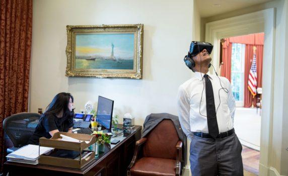 President Barack Obama wearing virtual reality headset. (Image courtesy .)