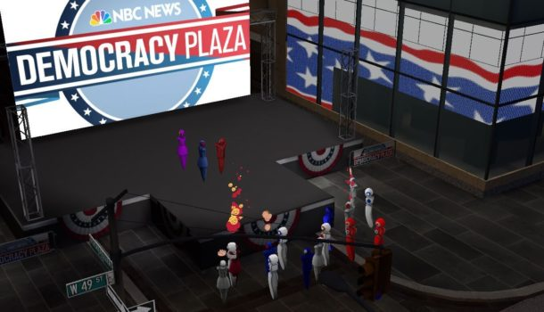 AltspaceVR's Democracy Plaza. (Image courtesy AltspaceVR and NBC News.)