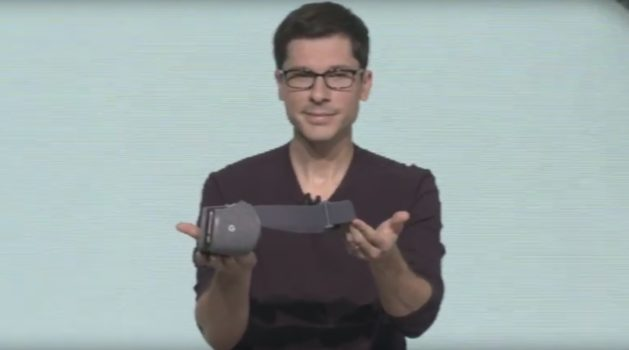 Clay Bavor with the new Daydream View virtual reality headset. (Image courtesy Google.)