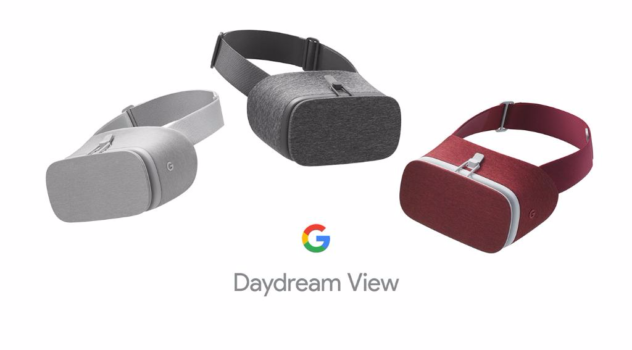 "Daydream View will launch with a fabric cover in ""slate."" Later, it will also come in crimson and ""snow."" (Image courtesy Google.)"