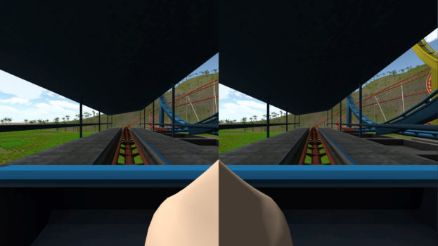 "Virtual reality games often cause simulator sickness – inducing vertigo and sometimes nausea - but new research findings point to a potential strategy to ease the affliction: insert an image of a virtual human nose, or ""nasum virtualis,"" into the center of the video display. This screenshot is from one application where the user rides a roller coaster. Findings suggest the virtual nose reduces simulator sickness. (Image courtesy Purdue University.)"