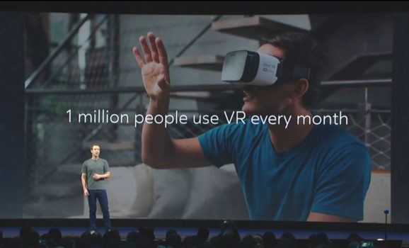 Mark Zuckerberg at the Oculus Connect 3 conference last week. (Image courtesy Facebook.)
