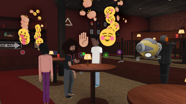 Floating emojis from the live event are shown in the recorded virtual reality playback. (Image courtesy AltspaceVR.)