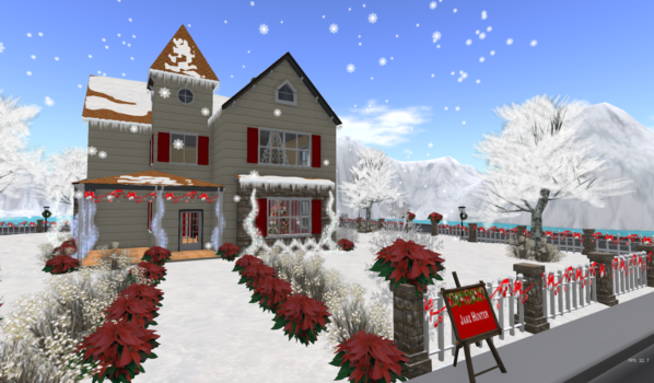 Candy Cane Lane on the Holiday Isle region of 3rd Life Grid. (Image courtesy VisionZ.)