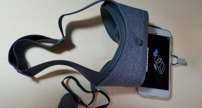 Daydream View headset with Pixel XL smartphone.