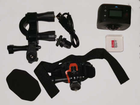 The EleCam 360 comes with a memory card, charging cable, and several mounts. (Photo by Maria Korolov.)
