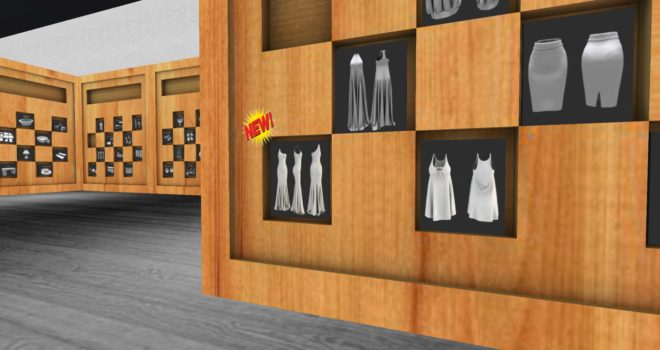 A new free mesh dress kit in the Clutterfly store on the Linda Kellie region on Metropolis grid. (Image by Maria Korolov.)