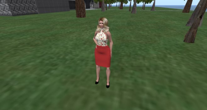 Here is my avatar, wearing mesh clothing based on free Linda Kellie templates. The top is her turtleneck tank, and the skirt is her folded waist pencil skirt. I added the textures using GIMP to the clothing textures she provided.